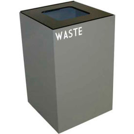 Steel Recycling Container with Waste Disposal Opening - 24 Gallon Capacity Gray