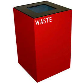 Steel Recycling Container with Waste Disposal Opening - 24 Gallon Capacity Red