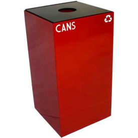Steel Recycling Container with Bottle & Can Opening - 28 Gallon Capacity Red
