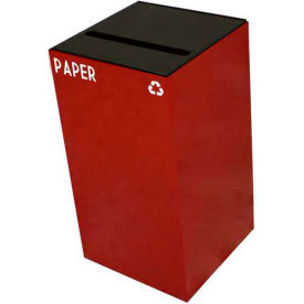 Steel Recycling Container with Paper Slot Opening - 28 Gallon Capacity Red