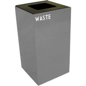 Steel Recycling Container with Waste Disposal Opening - 28 Gallon Capacity Gray