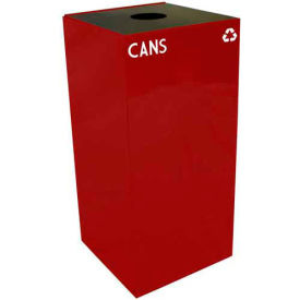 Steel Recycling Container with Bottle & Can Opening - 32 Gallon Capacity Red