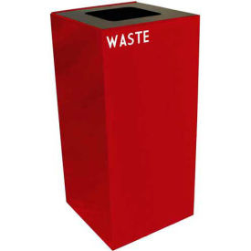 Steel Recycling Container with Waste Disposal Opening - 32 Gallon Capacity Red