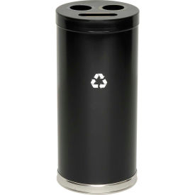 "3-In-1 Steel Recycling Container Black 15""Dia X 32""H"