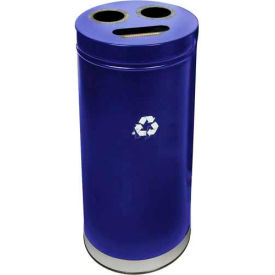 """3-In-1 Steel Recycling Container Blue 15""""Dia X 32""""H"""