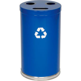 """3-In-1 Steel Recycling Container Blue 18""""Dia X 33""""H"""