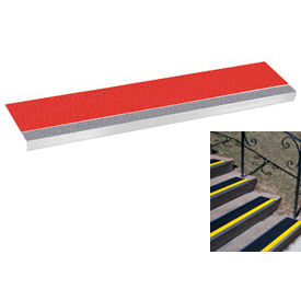 "Grit Surface Aluminum Stair Tread 7-1/2""D 42""W Glued Down Grayred"