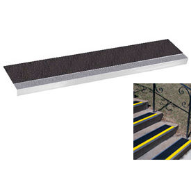 "Grit Surface Aluminum Stair Tread 7-1/2""D 54""W Glued Down Grayblack"