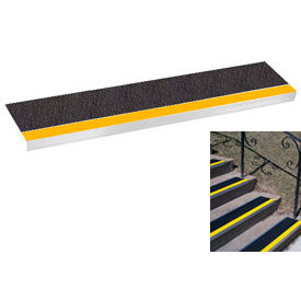 "Grit Surface Aluminum Stair Tread 7-1/2""D 60""W Glued Down Yellowblack"