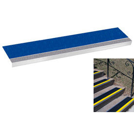 "Grit Surface Aluminum Stair Tread 9""D 36""W Glued Down Grayblue"