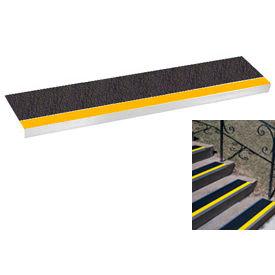 "Grit Surface Aluminum Stair Tread 9""D 48""W Glued Down Yellowblack"