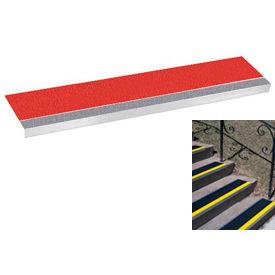"Grit Surface Aluminum Stair Tread 9""D 48""W Glued Down Grayred"
