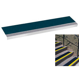 "Grit Surface Aluminum Stair Tread 11""D 30""W Glued Down Graygreen"