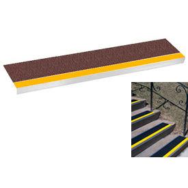 "Grit Surface Aluminum Stair Tread 11""D 60""W Glued Down Yellowbrown"