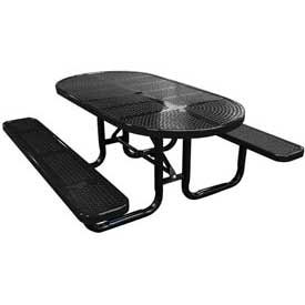 """72"""" Oval Perforated Metal Surface Mount Picnic Table - Black"""