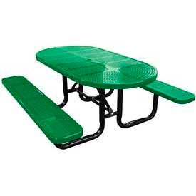 """72"""" Oval Perforated Metal Surface Mount Picnic Table - Green"""