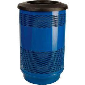 Perforated Stadium Series® Trash Container w/Flat Top - 55 Gallon Blue