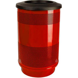Perforated Stadium Series® Trash Container w/Flat Top - 55 Gallon Red