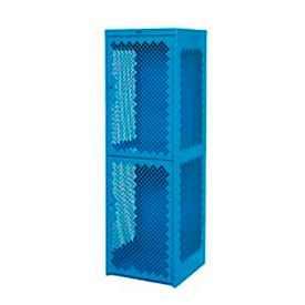Pucel Heavy Duty Extra Wide Vented Steel Locker Double Tier 24x24x74 2 Door Blue
