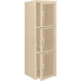 Pucel Heavy Duty Extra Wide Vented Steel Locker Triple Tier 24x24x74 3 Door Putty