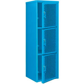 Heavy Duty Extra Wide Vented Steel Locker Triple Tier 24x24x74 3 Door Blue