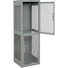 Heavy Duty Extra Wide Vented Steel Locker Double Tier 24x24x74 2 Door Gray