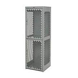 Pucel Heavy Duty Extra Wide Vented Steel Locker Triple Tier 24x24x74 3 Door Gray