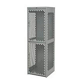 Pucel Heavy Duty Extra Wide Vented Steel Locker Single Tier 18x18x75 1 Door Gray