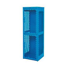 Pucel Heavy Duty Extra Wide Vented Steel Locker Double Tier 18x18x75 2 Door Blue