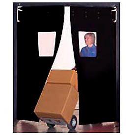 "Aleco® 5' x 7' x 0.25"" Twin Panel Black Flexible Impact Traffic Door 436044"