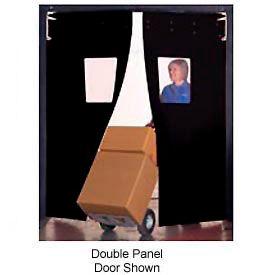 "Aleco® 6' x 7' x 0.25"" Twin Panel Black Flexible Impact Traffic Door 436046"