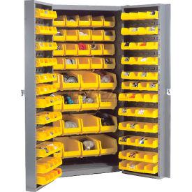 "Bin Cabinet 38""Wide With 96 Yellow Bins"