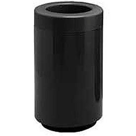 Fiberglass Waste Receptacle with Open Top - 18 Gallon Capacity Black