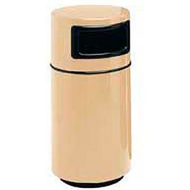 Fiberglass Trash Container with Dome Top - 25 Gallon Capacity Tan
