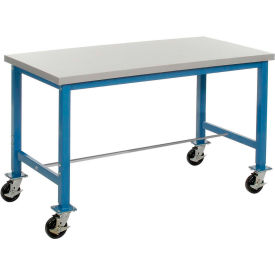 "60""W x 30""D Mobile Packaging Workbench - Plastic Laminate Safety Edge - Blue"