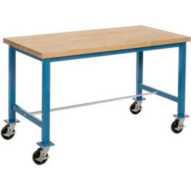 """72""""W x 30""""D Mobile Packaging Workbench - Maple Butcher Block Safety Edge - Blue"""
