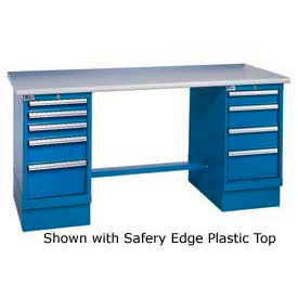 72x30 Square Maple Pedestal Workbench with 8 Drawers