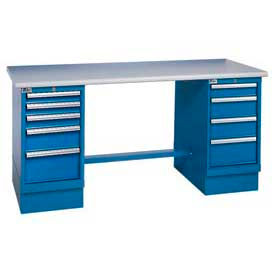 72x30 ESD Square Edge Pedestal Workbench with 8 Drawers