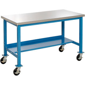 """72""""W x 30""""D Mobile Workbench - Stainless Steel - Blue"""