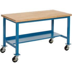 "72""W x 30""D Mobile Workbench - Maple Butcher Block Safety Edge - Blue"