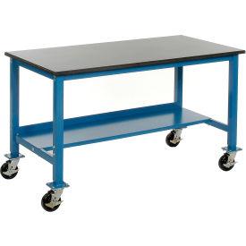 "72""W x 30""D Mobile Workbench - Phenolic Resin Safety Edge - Blue"