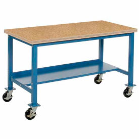 "60""W x 30""D Mobile Workbench - Shop Top Square Edge - Blue"