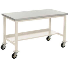 """60""""W x 30""""D Mobile Workbench - Stainless Steel - Tan"""