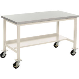 "72""W x 36""D Mobile Workbench - Plastic Laminate Safety Edge - Tan"