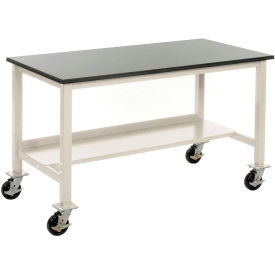 "60""W x 30""D Mobile Workbench - Phenolic Resin Safety Edge - Tan"