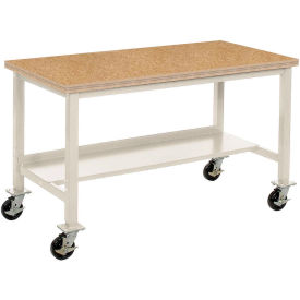"72""W x 30""D Mobile Workbench - Shop Top Square Edge - Tan"