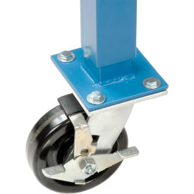 "5"" Phenolic Swivel Casters with Brakes Blue"