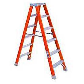 Louisville 12' Dual Access Fiberglass Step Ladder - 300 lb Cap. - FM1512