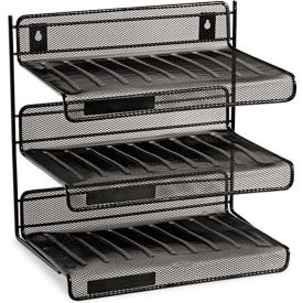 Mesh Three-Tier Desk Shelf, Letter Size, 12-1/2W X 9-1/4D X 12-1/2H, Black