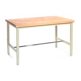 "60""W x 24""D Production Workbench - Maple Butcher Block Square Edge - Tan"